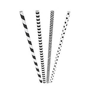 Biologische rietjes uit papier, 20 cm, zwart/wit, pak van 200 rietjes