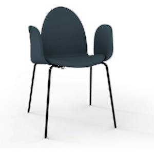 Stol Ø48 polstret med armlæn sort