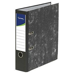 Lyreco ordner met hefboom, A4, rug 8 cm, gemarmerd, zwart, per ordner