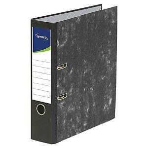 Lyreco ordner met hefboom, A4, rug 4 cm, gemarmerd, zwart, per ordner