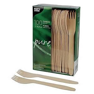 Widelce drewniane PAPSTAR Pure, 16,5 cm, 100 sztuk