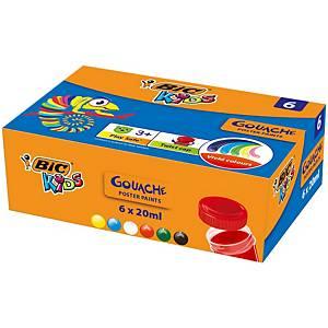 Kvašové farby Bic, mix 6 farieb v kalíškoch po 20 ml