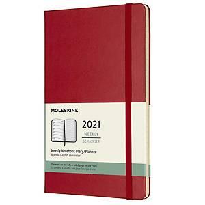 Diár týždenný L Moleskine tvrdý obal - šarlátovo červený, 13 x 21 cm, 144 strán
