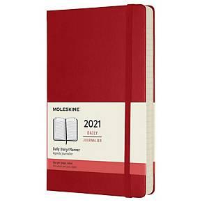 Diář denní L Moleskine tvrdý obal - šarlatově červený, 13 x 21 cm, 400 stran