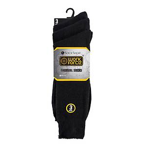 PACK OF 3 WORKFORCE CLASSIC THERMAL SOCKS SIZE 6-11 BLACK