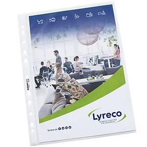 Pochette perforée Lyreco Budget, A4, PP 55 microns, granulée, les 100 pièces