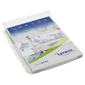 Pochette perforée Lyreco - avec rabat - PVC cristal 20/100e - par 5
