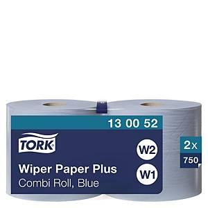 Papier d essuyage Tork Plus Combi Roll pour W1/W2 - 2 plis - bleu - 2 bobines
