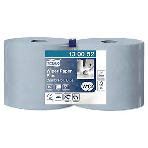 TORK SERVOIL 2 PLY RECYCLED PULP BLUE 1000-SHEET INDUSTRIAL ROLLS - PACK OF 2
