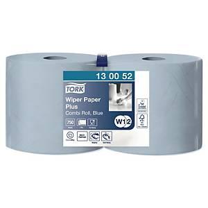 Industriruller Tork W1/W2 Plus, kombi, 2-lags, blå, pakke à 2 ruller