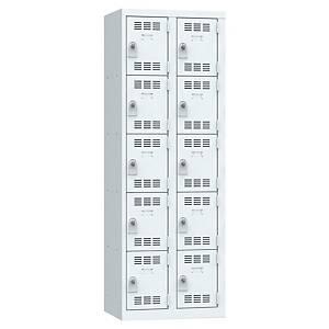 Vestiaire multicases Pierre Henry - 2 colonnes - 5 cases - à cadenas - gris