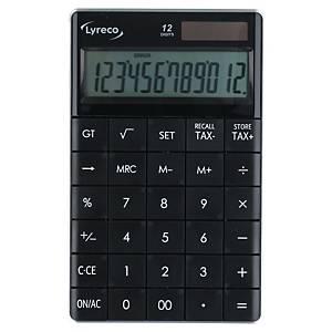 Lyreco asztali számológép, 12 számjegyű kijelzővel, fekete