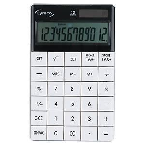 Tischrechner Lyreco 12-stellig, Solar-/Batteriebetrieb, weiß