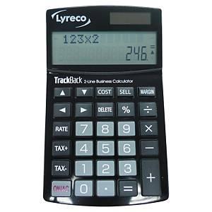 Calculatrice de bureau Lyreco, noire, 12 chiffres, affichage sur 2 lignes