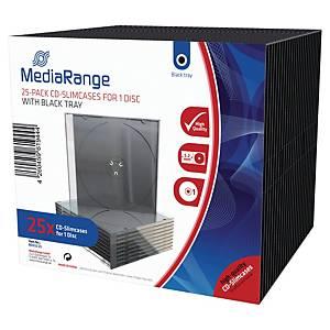 Boîtiers CD/DVD Mediarange Slim case, transparents, le paquet de 25