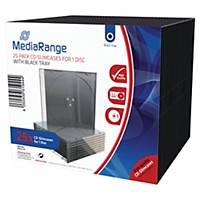 MediaRange műanyag tok 1 db CD/DVD lemezhez, 25 darab/csomag