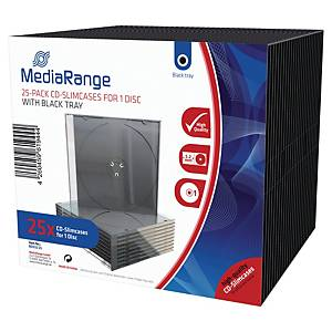 Pack de 25 boîtiers slim Mediarange pour CD/DVD - transparents