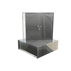 Pack de 25 estuches MediaRange para CD/DVD slim - transparente y negro