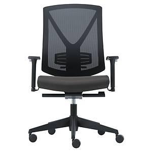 Cadeira LYRECO com malha e braços - Preto