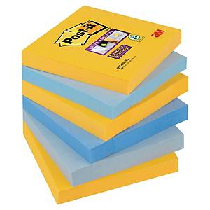 Post-it® Super Sticky Notes, couleurs New York, 76 x 76 mm, les 6