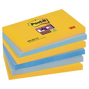 Post-it® Super Sticky Notes, couleurs New York, 76 x 127 mm, les 6