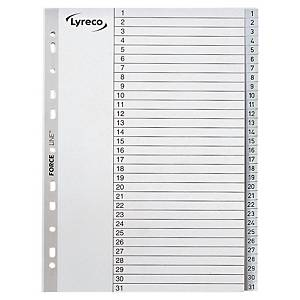 Register Lyreco 1-31, A4, aus Kunststoff, 31 Blatt, grau