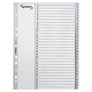 Lyreco numerieke tabbladen, A4, PP,  wit, 11-gaats, per 31 tabs