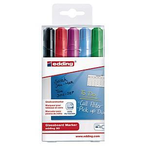 Edding® glasbord marker, ronde punt, assorti donkere kleuren, per 5 stuks