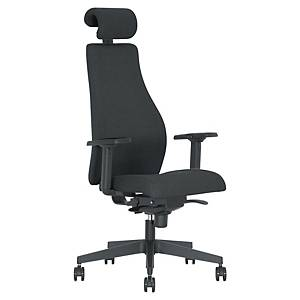 Carl office chair with armrests, seat and back in fabric, black