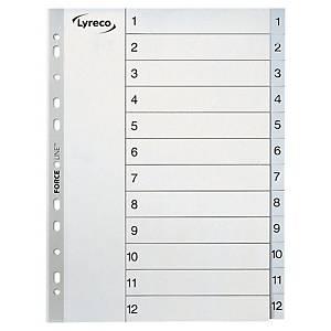 Skilleark Lyreco, 1-12, plast, A4, grå