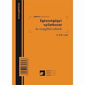 Egészségügyi nyilatkozat és vizsgálati adatok 8 lapos füzet 102x140 mm