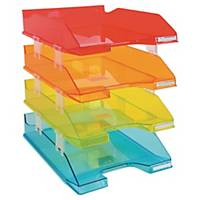 Exacompta transparante brievenbak, A4+, zet van 4 stuks in assorti kleuren