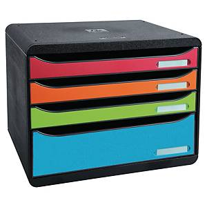 EXACOMPTA Big-Box Plus Drawer Set 4-Drawer Black/Asst