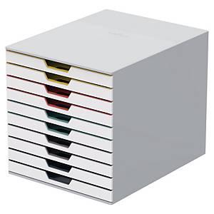 Schubladenbox Durable 763027 Varicolor, 10 Schubladen, A4, weiß/bunt