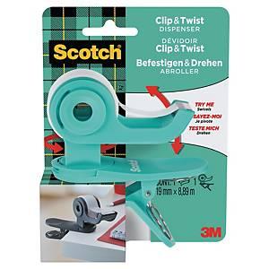 Scotch C19 Clip Dispenser Teal w/Scotch Magic Tape Roll 19mm x 8.89m