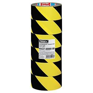 Tesa 65537 vloermarkeertape, geel/zwart, pak van 6 rollen tape