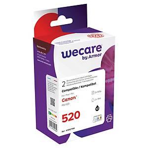 WECARE komp. Tintenpatrone CANON PGI-520 (2932B001) schwarz(Packung mit 2 Stück)