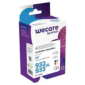Cartouches HP 932/933XL (C2P42A) remanufacturées par Wecare, noire et 3 couleurs
