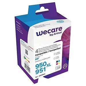 Cartouches HP 950/951XL (C2P43A) remanufacturées par Wecare, noire et 3 couleurs
