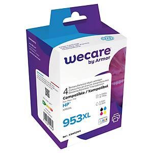Cartouches HP 953XL (3HZ52AE) remanufacturées par Wecare, noire et 3 couleurs