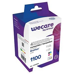 Bläckpatron Wecare komp. med Brother LC1100, 735 sidor svart + 3x855 sidor c/m/g