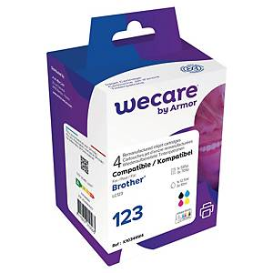 Wecare remanufactured Brother LC-123 inkt cartridges, zwart en 3 kleuren