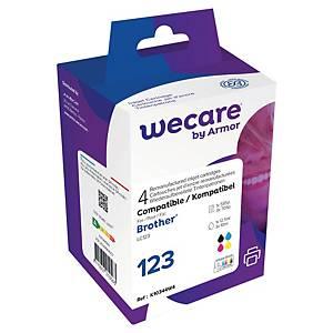 Blækpatron Wecare Brother LC123 kompatibel, 585 sider, sort + 3x705 sider, c/m/g