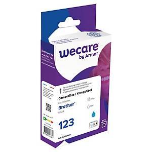 Bläckpatron Wecare kompatibel med Brother LC123C, 705 sidor, cyan