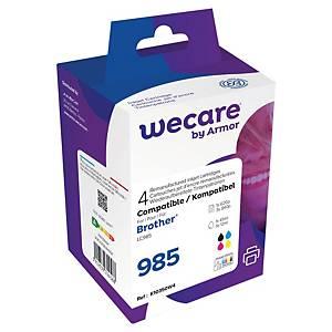 Wecare remanufactured Brother LC-985 inkt cartridges, zwart en 3 kleuren
