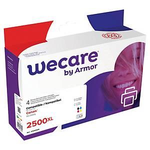 Wecare remanufactured Canon PGI-2500XL inkt cartridges, zwart en 3 kleuren
