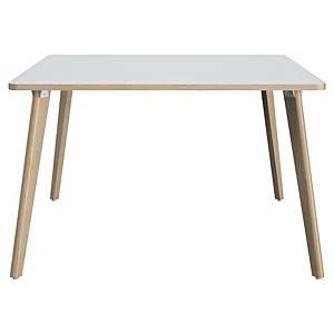 Table carrée Gautier Office Fjord - 140 x 140 xm - bois/blanc