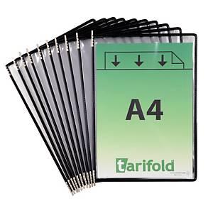 Panneaux Tarifold 114003 pour système d'affichage métal, PVC, noirs, 10x