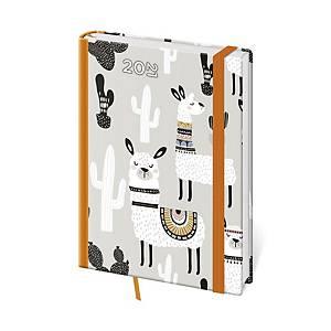 Diář týdenní A5 Vario Lama s gumičkou - 14,3 x 20,5 cm, 128 stran