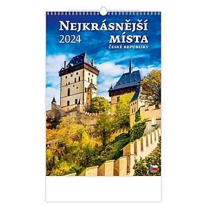 Nejkrásnější místa ČR - české 3 mesačné kalendárium, 14 listov, 31,5 x 45 cm